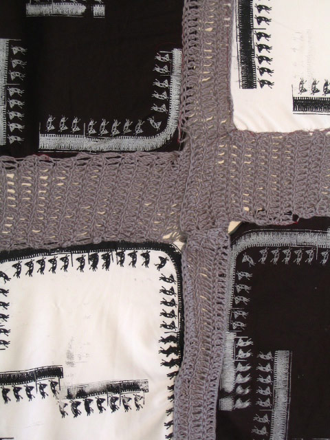 Mulatto Flag (Detail), Crocheted Acrylic Yarn and Screen Printed Slaveship Diagrams on Cotton, 20055, Aaron Joseph