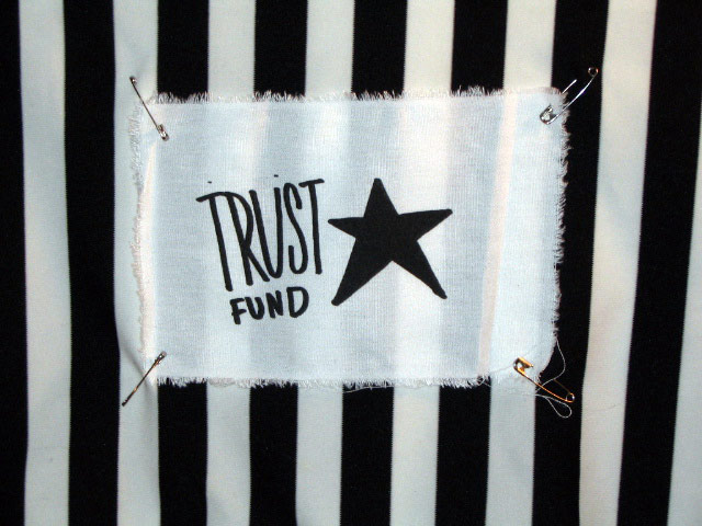 'Trust Fund' Punk Patch from White Exotification ... Hypergamy ... Marrying Up, Screen Print on Cotton, 2004, Aaron Joseph